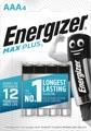 Energizer piles Max Plus AAA, blister de 4 pièces