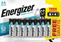 Energizer batterijen Max Plus AA, blister van 8 + 4 stuks