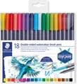 Staedtler brushpen Aquarel duo, boîte de 18 pièces en couleurs assorties