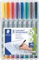 Staedtler OHP-marker Lumocolor non-permanent, superfijn 0,4 mm, doos van 8 stuks in geassorteerde kleuren
