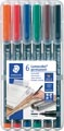 Staedtler OHP-marker Lumocolor Permanent geassorteerde kleuren, box met 6 stuks, medium 1 mm