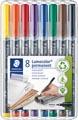 Staedtler marqueur OHP Lumocolor Permanent, couleurs assorties, boîte de 8 pièces, fine 0,6 mm