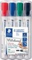 Staedtler Lumocolor whiteboardmarker etui van 4 stuks in geassorteerde kleuren