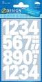 Avery Etiquettes chiffres et lettres 0-9 large, 2 feuilles, wit, film résistant aux intempéries
