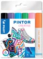 Pilot Pintor Creativ marqueur, moyen, blister de 6 pièces en couleurs assorties
