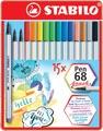 STABILO Pen 68 brush, boîte métallique de 15 pièces en couleurs assorties