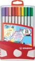 STABILO Pen 68 brush, ColorParade, boîte rouge-gris, 20 pièces en couleurs assorties