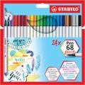 STABILO Pen 68 brush, étui de 24 pièces en couleurs assorties