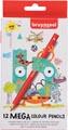 Bruynzeel crayon de couleur Mega, étui cartonné de 12 pièces