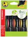 STABILO GREENBOSS markeerstift, blister van 4 stuks in geassorteerde kleuren
