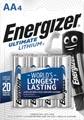 Energizer piles Lithium AA, blister de 4 pièces