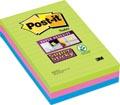 Post-it Super Sticky notes, ft 102 x 152 mm, 90 feuilles, pacquet de 3 blocs en couleurs assorties