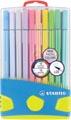 Stabilo feutre Pen 68 PastelParade, 20 feutres en boîte plastique en couleurs pastel assorties