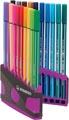 STABILO Pen 68 brush, ColorParade, boîte lilas-gris, 20 pièces en couleurs assorties