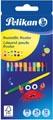 Pelikan crayon de couleur rond, étui de 12 pièces en couleurs assorties