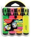 Maped surligneur Fluo'Peps Classic étui de 4 pièces: jaune, orange, rose et vert