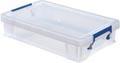Bankers Box boîte de rangement 5,5 litres, transparent avec poignées bleues, emballée individ. en carton