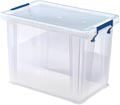 Bankers Box boîte de rangement 18,5 litres, transparent avec poignées bleues, emballée individ. en carton