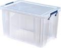 Bankers Box boîte de rangement 26 litres, transparent avec poignées bleues, emballée individ. en carton