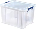 Bankers Box boîte de rangement 36 litres, transparent avec poignées bleues, emballée individ. en carton