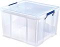 Bankers Box boîte de rangement 48 litres, transparent avec poignées bleues, emballée individ. en carton