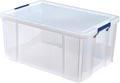 Bankers Box boîte de rangement 70 litres, transparent avec poignées bleues, emballée individ. en carton