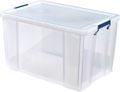 Bankers Box boîte de rangement 85 litres, transparent avec poignées bleues, emballée individ. en carton