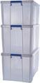 Bankers Box boîte de rangement 2 x 85L + 1 x 70L, transparent avec poignées, set de 3 pcs emb en carton