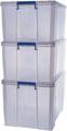 Bankers Box boîte de rangement 2 x 70L + 1 x 85L, transparent avec poignées, set de 3 pcs emb en carton