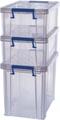 Bankers Box boîte de rangement 2 x 10L + 1 x 18,5L, transparent avec poignées, set de 3 pcs emb en carton