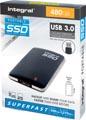 Integral draagbare SSD harde schijf, 480 GB, zwart