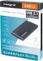Integral draagbare SSD harde schijf USB 3.1 met type C interface, 240 GB, zwart