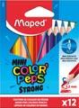 Maped crayon de couleur Color'Peps Mini Strong, 12 crayons en étui cartonné