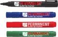 Crown permanent marker, ronde punt, schrijfbreedte 1 - 3 mm, etui van 4 stuks, geassorteerde kleuren