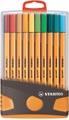 STABILO point 88 fineliner, Colorparade, grijs-oranje doos, 20 stuks in geassorteerde kleuren