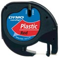 Dymo LetraTAG tape 12 mm, plastic rood