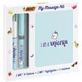 Bic Message Kit Unicorn, stylo bille 4 colours, surligneur highlighter et carnet de notes ft A6