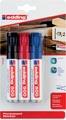 Edding permanente marker e-500 geassorteerde kleuren, blister van 3 stuks