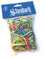 Standard elastieken 5 populaire afmetingen, geassorteerde kleuren, zakje van 100 g