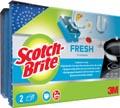 Scotch Brite schuurspons Fresh, niet-krassend, met nagelbescherming, pak van 2 stuks