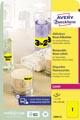 Avery étiquettes néon amovibles ft 210 x 297 mm (l x h), bôîte de 25 feuilles, 25 pièces, jaune néon