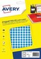 Avery PET08B etiquettes pastilles rondes, diamètre 8 mm, blister de 2940 pièces, bleu
