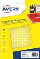 Avery PET08J etiquettes pastilles rondes, diamètre 8 mm, blister de 2940 pièces, jaune
