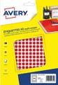 Avery PET08R etiquettes pastilles rondes, diamètre 8 mm, blister de 2940 pièces, rouge