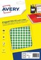 Avery PET08V etiquettes pastilles rondes, diamètre 8 mm, blister de 2940 pièces, vert