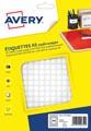 Avery PET08W etiquettes pastilles rondes, diamètre 8 mm, blister de 4704 pièces, blanc