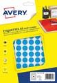 Avery PET15B etiquettes pastilles rondes, diamètre 15 mm, blister de 960 pièces, bleu
