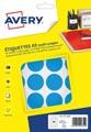 Avery PET30B etiquettes pastilles rondes, diamètre 30 mm, blister de 240 pièces, bleu clair