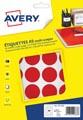Avery PET30R etiquettes pastilles rondes, diamètre 30 mm, blister de 240 pièces, rouge