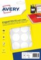 Avery PET30W etiquettes pastilles rondes, diamètre 30 mm, blister de 384 pièces, blanc